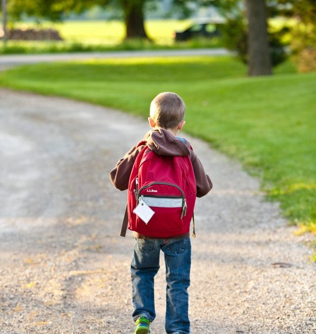 Boy walking to school wearing backpack