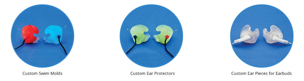 Three examples of earmold hearing aids