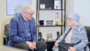 Doug Hyde of Fraser Valley Beltone in Abbotsford, meeting with a patient