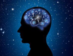 Illustration of a brain inside someones head