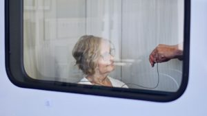 Patient with hearing loss getting their first hearing test done at Fraser Valley Beltone in Langley