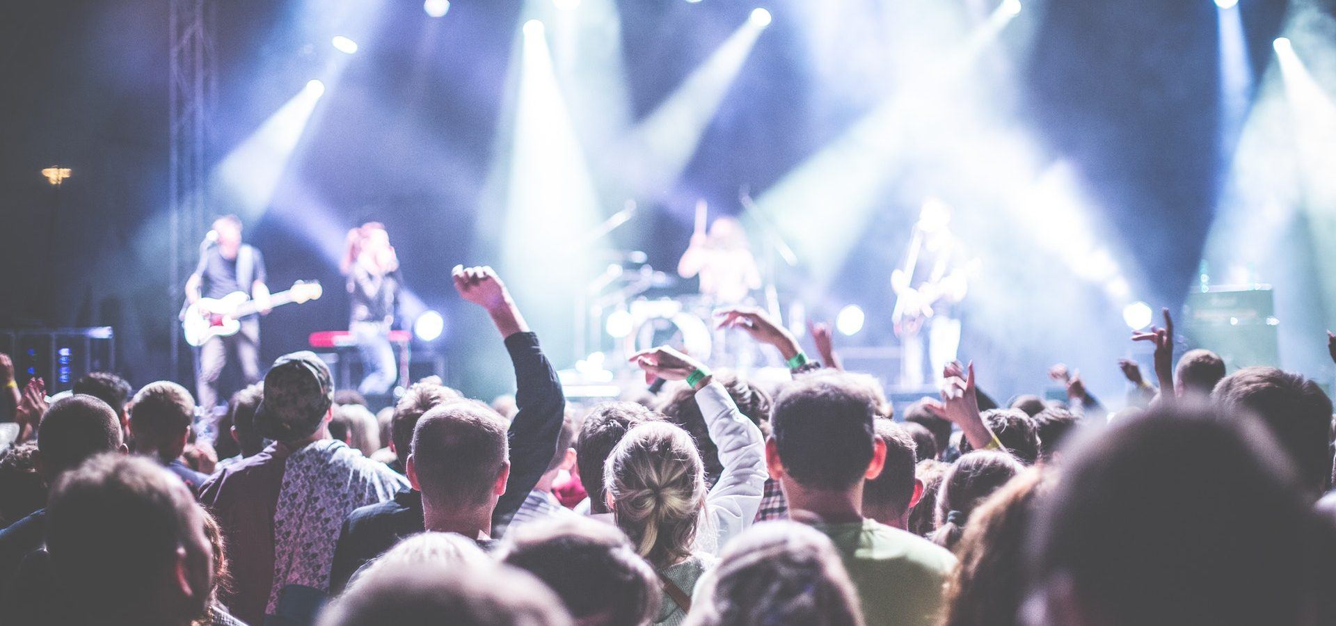 Audience watching a loud concert, at risk of noise induced hearing loss