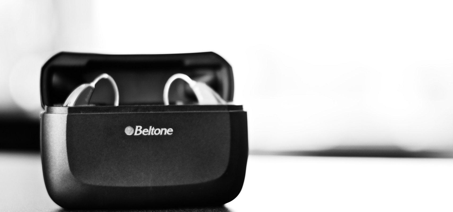 Beltone hearing aids black and white photo